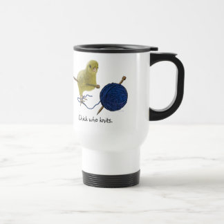 Chicks who knit travel mug