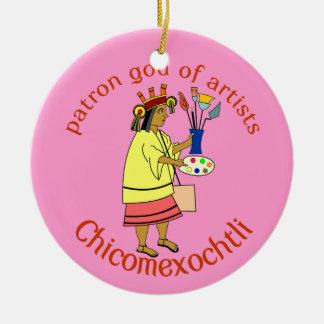 Chicomexochtli painter's patron god round ceramic decoration