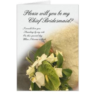 Chief Bridesmaid Wedding Card