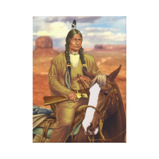 Chief Bull Bear Stretched Canvas Prints