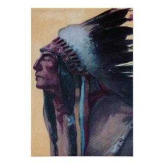 Chief Eagle Feather Wearing War Bonnet Print