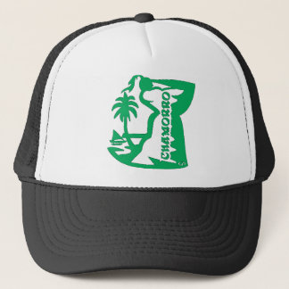 Chief holding a latte stone.  Guam seal. Trucker Hat