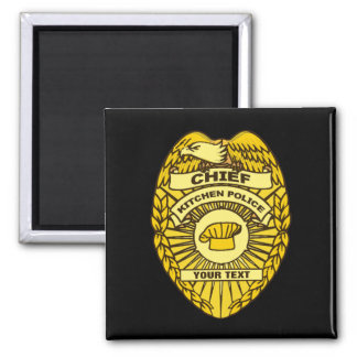 Chief Of Kitchen Police Badge Square Magnet