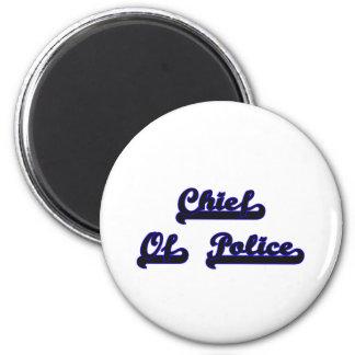 Chief Of Police Classic Job Design 6 Cm Round Magnet