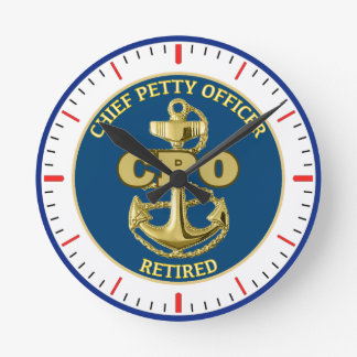 CHIEF PETTY OFFICER RETIRED ROUND CLOCK