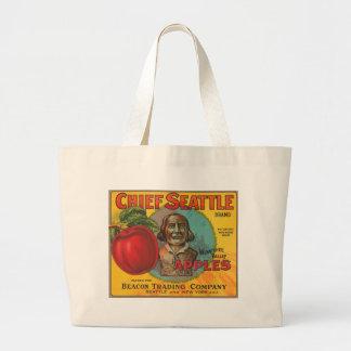 Chief Seattle Brand Apples Vintage Crate Label Jumbo Tote Bag
