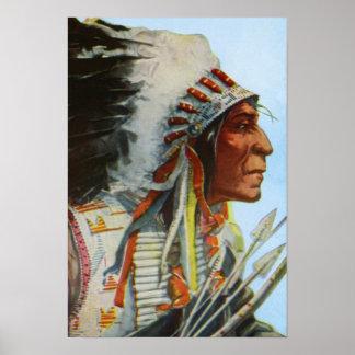 Chief Wolf Robe Blackfeet Native American Poster