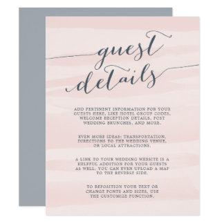 Chiffon Watercolor Guest Details Card   Blush 11 Cm X 14 Cm Invitation Card