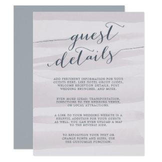 Chiffon Watercolor Guest Details Card   Gray Lilac 11 Cm X 14 Cm Invitation Card