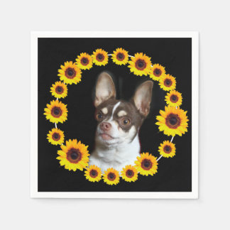 Chihuahua and sunflowers cocktail napkins paper napkin