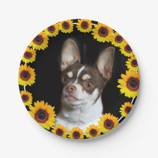 Chihuahua and Sunflowers  dog paper plates 7 Inch Paper Plate