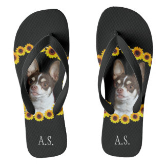 Chihuahua and sunflowers Monogrammed flip flops Thongs