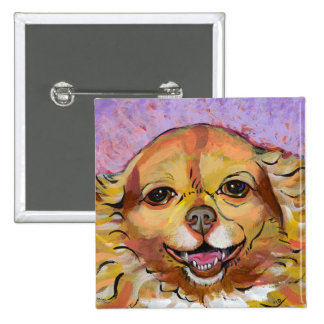 Chihuahua art - Adorable fun smiling happy girl Buttons