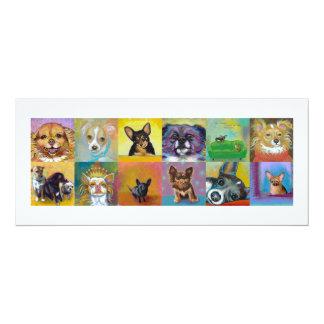 "Chihuahua art fun Fierce and Proud little dogs 4"" X 9.25"" Invitation Card"