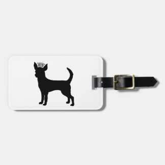 Chihuahua Basic Black Crown Silhouette Luggage Tag