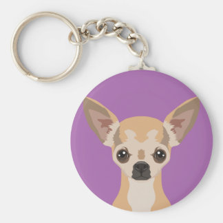 Chihuahua Basic Round Button Key Ring