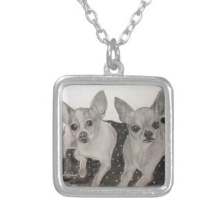 Chihuahua buddies original artwork by Carol Zeock Silver Plated Necklace