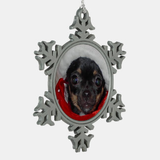 Chihuahua Christmas Santa Baby Paris Ornament Pewter Snowflake Ornament