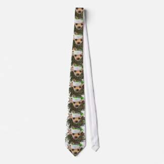 Chihuahua Christmas Wreath & Hat Necktie