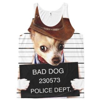 chihuahua cowboy - sheriff dog All-Over print singlet