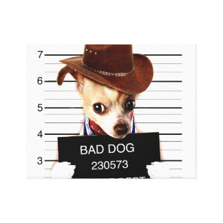 chihuahua cowboy - sheriff dog canvas print