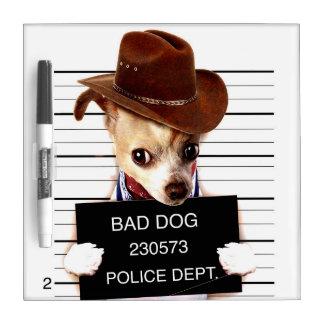 chihuahua cowboy - sheriff dog dry erase board