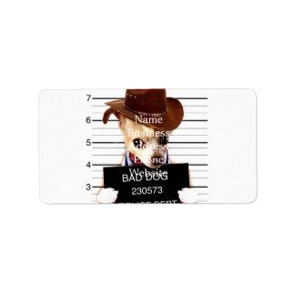 chihuahua cowboy - sheriff dog label