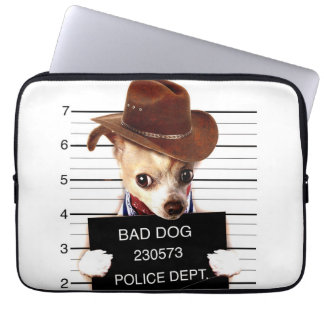 chihuahua cowboy - sheriff dog laptop sleeve