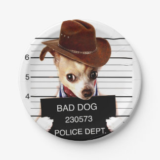 chihuahua cowboy - sheriff dog paper plate