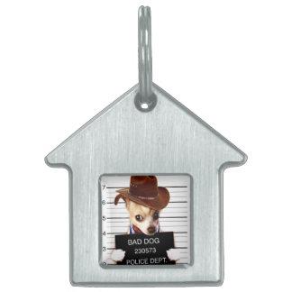chihuahua cowboy - sheriff dog pet ID tag