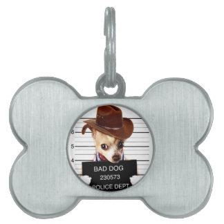 chihuahua cowboy - sheriff dog pet tag
