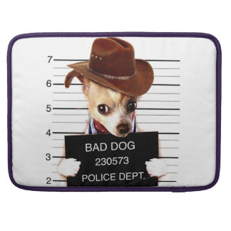 chihuahua cowboy - sheriff dog sleeve for MacBook pro