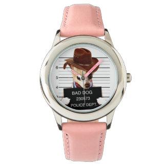 chihuahua cowboy - sheriff dog wristwatch