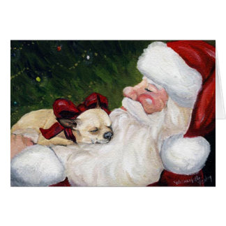 """Chihuahua Cozy Christmas"" Dog Art Greeting Card"