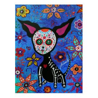 Chihuahua Dia de los Muertos Postcard