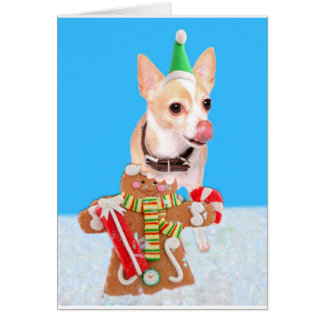 chihuahua dog eating gingerbread man card