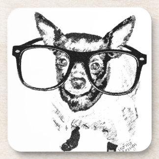 Chihuahua Dog Illustration Drawing Beverage Coasters