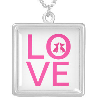 Chihuahua dog love pink necklace, gift idea square pendant necklace