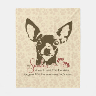 Chihuahua Dog My Sunshine Poem Fleece Blanket