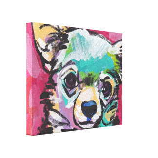 Chihuahua Dog Pop Art on Stretched Canvas