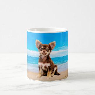 Chihuahua Dog Sitting on Tropical Beach Coffee Mug