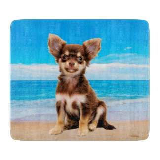 Chihuahua Dog Sitting on Tropical Beach Cutting Board