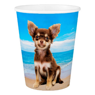 Chihuahua Dog Sitting on Tropical Beach Paper Cup