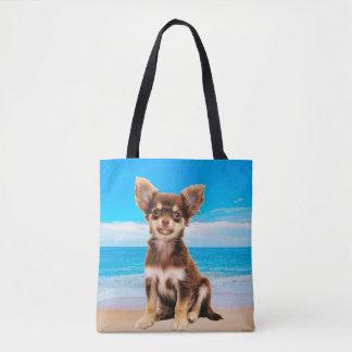 Chihuahua Dog Sitting on Tropical Beach Tote Bag