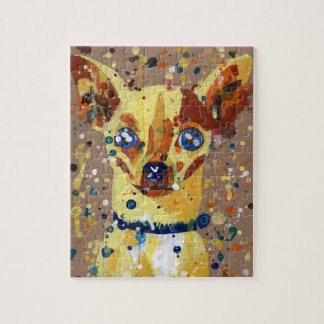 Chihuahua, dog, watercolor, painting, puzzle