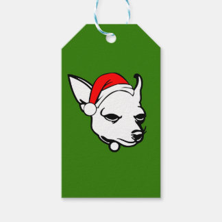 Chihuahua Dog with Christmas Santa Hat Gift Tags