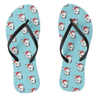 Chihuahua Dog with Christmas Santa Hat Pattern Thongs