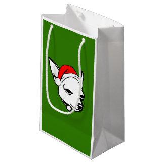 Chihuahua Dog with Christmas Santa Hat Small Gift Bag