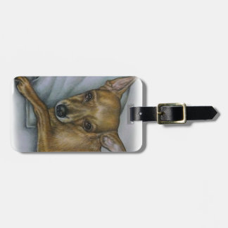 chihuahua drawing of dog animal art luggage tag