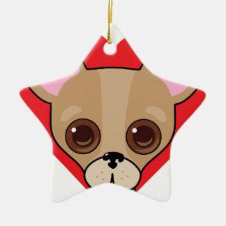 Chihuahua Face Ceramic Star Decoration